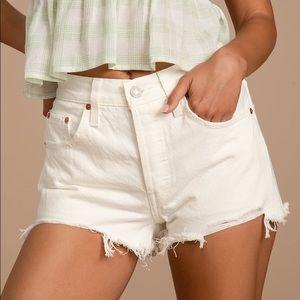 Levis White Denim Shorts Sz 27